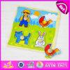 Brinquedo colorido barato educacional para miúdos, brinquedo de madeira do enigma 2015 do enigma Jigsaw das crianças, jogo de madeira do enigma do brinquedo com botões W14m075