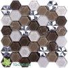 ステンレス鋼の六角形カラー混合されたガラスモザイク(TG-OWD-550)