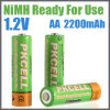CE RoHS del AA 2200mAh de la batería recargable de NiMH aprobado