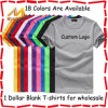 Coton 100% Wholesale Blank T Shirts Good Quality Solid Color Plain T Shirt Comfortable 1 Dollar T Shirts avec Custom Printing