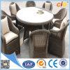 新しいデザイン屋外の円形の柳細工の藤8のシートのダイニングテーブルの設定