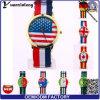 Relógio de senhoras do relógio de pulso dos homens da promoção da forma do jogo Yxl-632 2016 olímpico com a face do seletor da bandeira de país