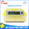 Incubator van het Ei van de Kip van Hhd de volledig Automatische Digitale voor 48 Eieren