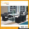 Jogo liso preto ao ar livre disponível da tabela de jantar do Rattan
