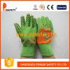 Померанцовая перчатка Dcl525 латекса зеленого цвета хлопка