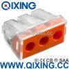Ce 309 tipo empuje de Wago de 3 cuadrillas en el acero de Stainles del alambre o el conector del cobre con color anaranjado