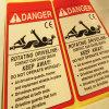 Etiquetas engomadas para la advertencia