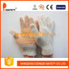 Естественный Knit шнура хлопка/полиэфира. Померанцовый PVC перчаток ставит точки одна сторона (DKP101)