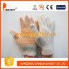 Естественный хлопок с PVC Knit шнура полиэфира померанцовым ставит точки перчатки Dkp101