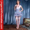 White und Blue Gingham abgestuftes Skirt Sexy französisches Maid Costume der Frauen