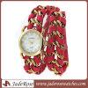 Senhora relógio de couro vermelha trançada Chain