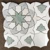Azulejo de mosaico mezclado del diseño de la flor del jet de agua del mármol del color
