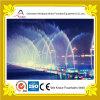 Fontaine d'eau linéaire multicolore construite dans le fleuve