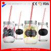Vaso di muratore di vetro con la decalcomania della lavagna e della maniglia