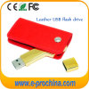 Movimentação do flash do USB da forma da chave dourada com bolsa de couro (EL015)
