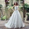Elegante uma linha querido do trem da varredura plissou o vestido de casamento Appliqued com Applique