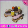 2016 оптовых деревянных игрушек поезда торта, игрушка поезда торта малышей тяги деревянная, игрушка W05c026 поезда торта дешевых детей деревянная
