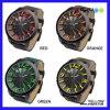 Relógios de couro de quartzo da cinta de pulso (P6704)