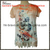 Ou Tprint Long T-Shirt Ladies Round Neck Short Sleeve Hollow высокого качества 2016 новый Arrive Fashion с Beading (NX0132B)