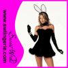Traje sexy adulto do coelho da mulher preta
