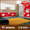 Kitchen Cabinet Door (ZHUV)のためのBottom赤いWhite Flower紫外線MDF
