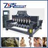 Beine/Treppe befördert 8 Spindeln 4D Dreh-CNC-hölzerne Gravierfräsmaschine mit der Eisenbahn