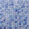 Línea azul sólida mosaico del oro del vidrio de la piscina