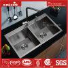 Edelstahl-Oberseite-Montierungs-Gleichgestellt-Doppelt-Filterglocke-handgemachte Küche-Wanne des Zoll-32X20