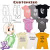 Atacado personalizado Infante recém-nascido Imprimir Algodão roupas de bebê Romper