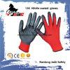 13G Nylon линия перчатка нитрила черноты ладони ровная Coated