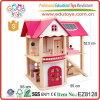 Brinquedos cor-de-rosa do Dollhouse miúdos de madeira da instrução dos bons com a miniatura do Dollhouse da mobília DIY