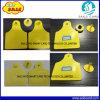 etiquetas de oído amarillas del ganado de la frecuencia ultraelevada 860~960MHz RFID de 100*74m m Plstic