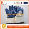 Голубой нитрил покрынный на перчатках Dcn309 вкладыша Джерси ладони и перста