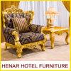 房状になっているボタンを持つThrone Sofa Chair古典的な木の金王
