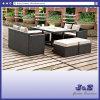 안뜰 정원 옥외 가구 명반 편평한 고리 버들 세공 소파 테이블 발판 (J382-A)