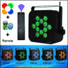 12PCS 10 Watts RGBWA Remote Control Batería-accionado 5in1 Wireless LED Lighting