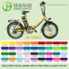 Велосипед складчатости девушки электрический