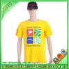 T-shirt 100% en plastique de coutume d'impression de coton de 2016 jaunes