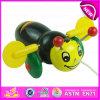 漫画の動物の蜂デザイン子供はおもちゃ、就学前の赤ん坊の美しい動物のおもちゃの木の小さい蜂押しのおもちゃW05b111を手で押す