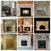 Blanc/jaune/cheminée de marbre beige, mantel de cheminée et cheminée en pierre
