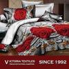 3D Dekbed van het Beddegoed dat met Af:drukken van de Bloem van het Bed van Twee Kussenslopen het Volledige Vastgestelde wordt geplaatst