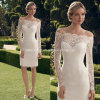 off-Shoulder completo Short New Wedding Dresses Z9021 de Lace Bridal Gowns