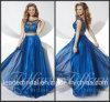 Zweiteiliges Chiffon- Partei-Abschlussball-Kleid Vestidos blaues Abend-Kleid P16076