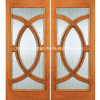 Demi-cercle Double Leaf Wooden Entry Door avec Glass