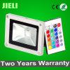 Dois anos de garantia jardim ao ar livre 10W RGB LED holofote com IR Controlador