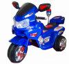 Kind-elektrisches Motorrad, Fahrt auf Spielzeug-Motorrad mit Warnungs-Licht