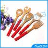 Het Werktuig van de Keuken van het bamboe dat met 2 Lepels en 3 Spatels wordt geplaatst