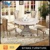 Jantando tabela de jantar de mármore ajustada do círculo superior