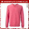 Mujeres francesas rosadas de encargo de la camiseta de Terry Crewneck (ELTSTJ-782)