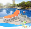 Da cadeira ao ar livre do Lounger da piscina da praia base de vime T525 de Sun do Rattan do Lounger de Sun do Rattan